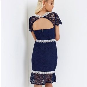 NWT ASOS PAPERDOLLS Navy Blue Crochet Lace Dress